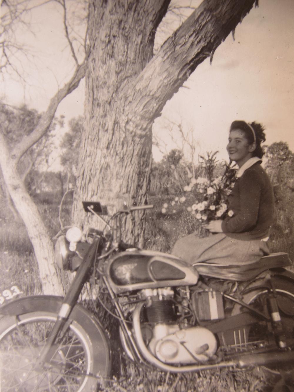 Janne on Bill's motorbike